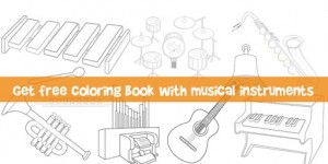 Coloring book with musical instruments