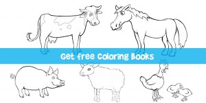 Get free coloring book with farm animals